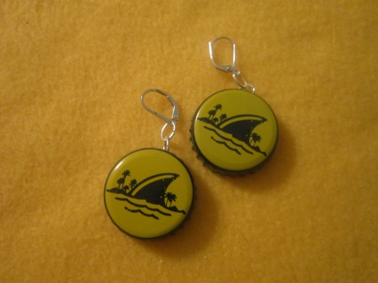 Landshark Bottle Cap Earrings