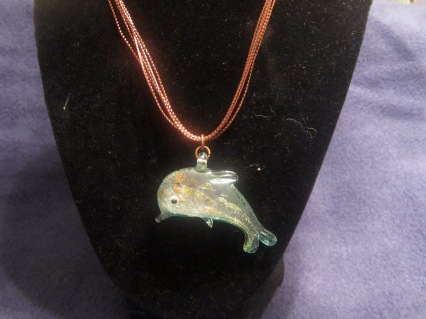 Copper and Glass Dolphin Necklace